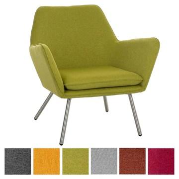 CLP Fauteuil Lounge Design Caracas Tissu I Chaise Confortable Assise et Dossier rembourrés Accoudoir I Fauteuil de Salon Piètement en Métal Vert