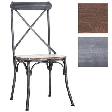 CLP Chaise de Bistro Bromley Chaise Design Industriel - Assise en Bois Piétement en Métal - Idéale pour la Gastronomie - Couleur au Choix : Antique-argenté