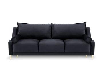 Milo Interiors Velvet Sofa with Bed Function and Box, Zora, 3 Seats, Dark Blue, 215x94x90