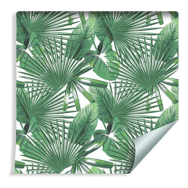 Muralo Papier Peint Feuilles Tropicales Vinyle Exotiques Végétation Jungle - 1337195339