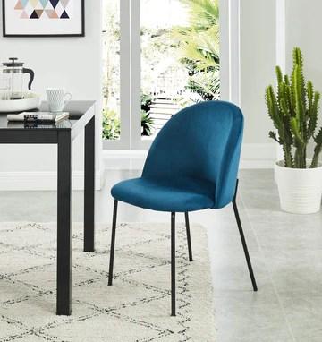 BAITA Brooklyn Chaise en Velours, Bleu Paon, h78cm