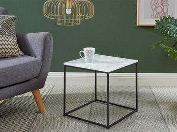 HOMIFAB Table Basse carrée 40 cm en marbre Blanc et Pieds en métal Noir - Collection Telma.