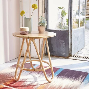 Table Basse Ronde en rotin Naturel