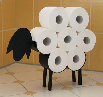 DanDiBo Porte-rouleau de papier toilette en métal noir sur pieds, en forme de mouton