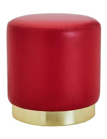 Suhu Tabouret Pouf en Similicuir Coiffeuse Repose-Pieds en Faux Cuir Rond de Salon Design Chaise Moderne Siège Vintage Deco Bas en Métal Gold Rouge