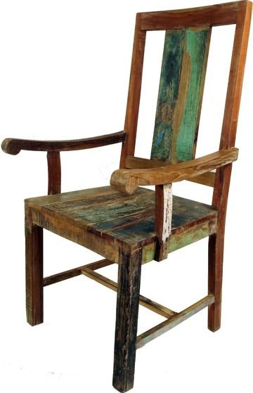 Guru-Shop Fauteuil de Bois Recyclage Vintgage Conception, Teck, 110x54x45 cm, Sièges
