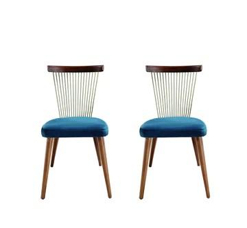 K&CO - Lot de 2 chaises Sixties Bleu Électrique