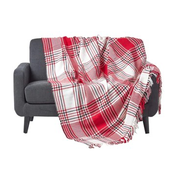 Homescapes Couverture Rouge et Blanche à Rayures Noires Rouges et Blanches de 230 x 250 cm en 100% Coton