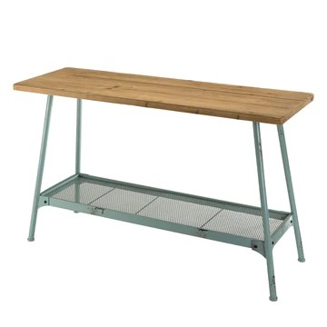 MACABANE HABY Table, Sapin, Bleu, 121X40X74,5