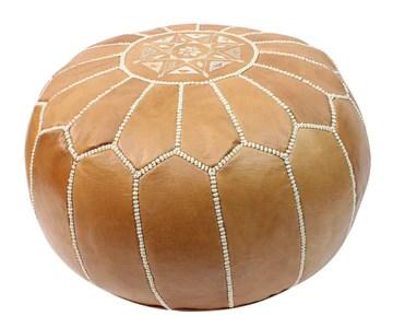Pouf en Cuir Marocain Couleur Naturelle Repose-Pied Pouffe Rond Fait Main avec Motif Brodé Version Housse Non Rembourrée