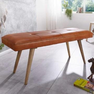 FineBuy bois massif cuir banque 117 x 51 x 38 cm style rétro | rembourré banc | Banc en cuir salle à manger brun | Petit banc de lit cuir véritable banc couloir