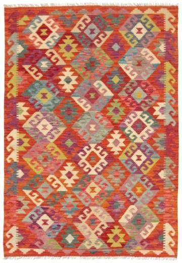 CarpetFine: Tapis Kilim Afghan - 123x178 cm Multicolore - Géométrique