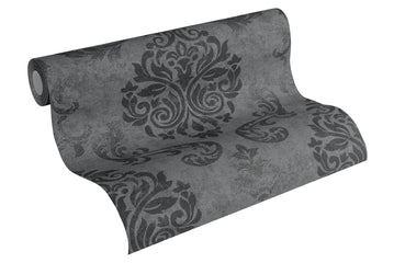 A.S.Création Memory papier peint in-tissé néo baroque glamour classique 10,05 m x 0,53 m, noir, 953723