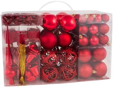 Brubaker - Boules de Noël & Pointe de Sapin - 101 Pièces/Coffret XXL - Décoration de Noël Traditionnelle - Rouge