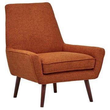 Marque Amazon - Rivet Jamie - Chaise d'appoint à accoudoirs bas, style années 1950, L 79 cm L, Orange brûlé