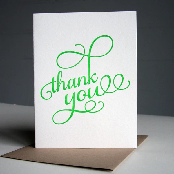 Neon Green Thank You Card | Steel Petal Press