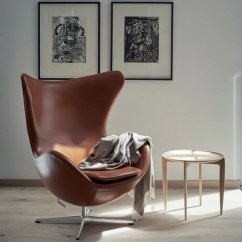 Jacobsen Egg Chair Leather Outdoor High Arne Fritz Hansen Palette Parlor Modern In Elegance Walnut With Tray Table
