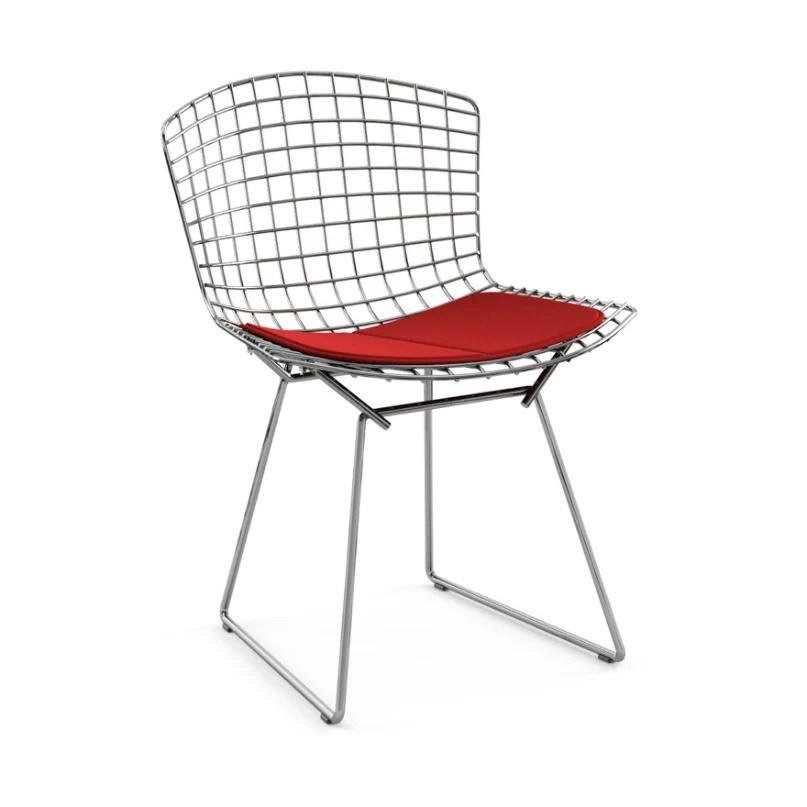 bertoia side chair white spandex covers in bulk knoll palette parlor modern design harry chrome red cushion front