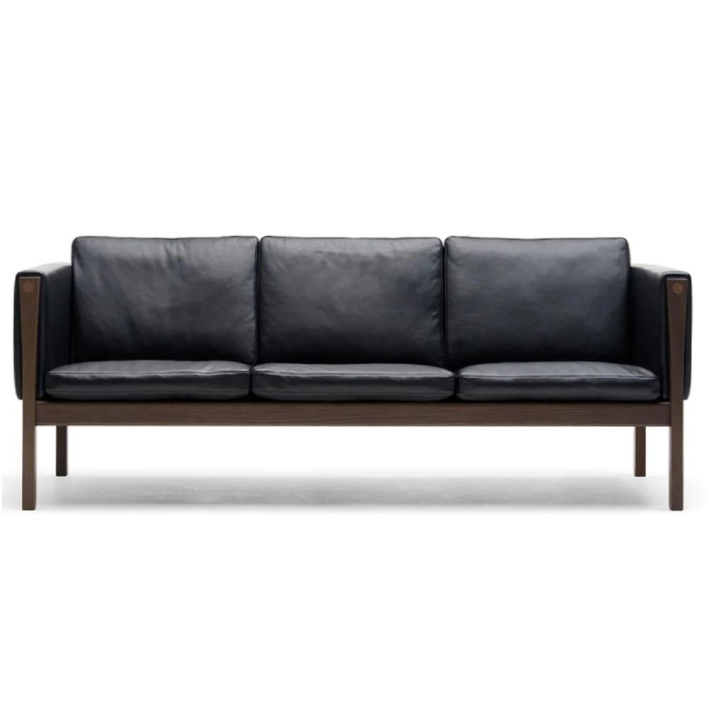 hans wegner sofa ch163 benson freedom carl hansen son palette parlor ole wanshcer black leather front