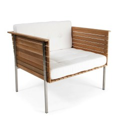 Steel Lounge Chair Cane Back Chairs Haringe Skargaarden Palette Parlor Modern Design With Brushed Stainless Frame And White Sunbrella Natte Fabric