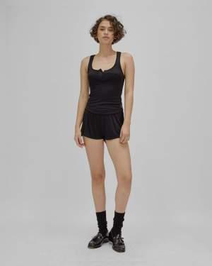 fine rib shorts black