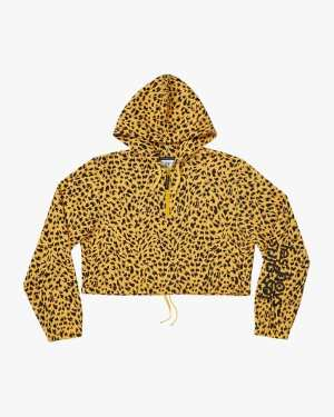 Animal print brushback crop hoodie daffodil