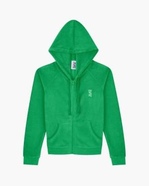 Slim towelling shrunken zip up hoodie green