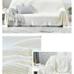 White Sofa Throw Jacquard Knitted Blanket Cotton Bedspread Cover Trave House Boutique