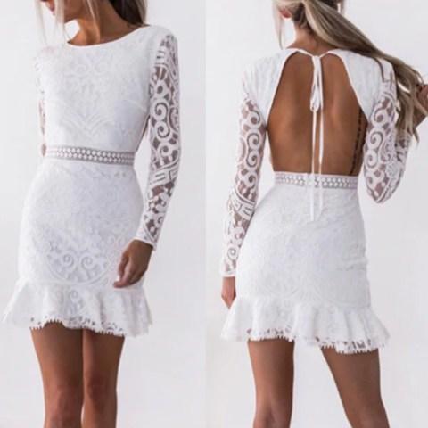 Vestido branco de renda