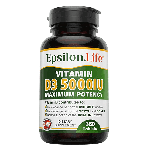 Vitamin D3 5000 iu (360 tablets) from Epsilon Life