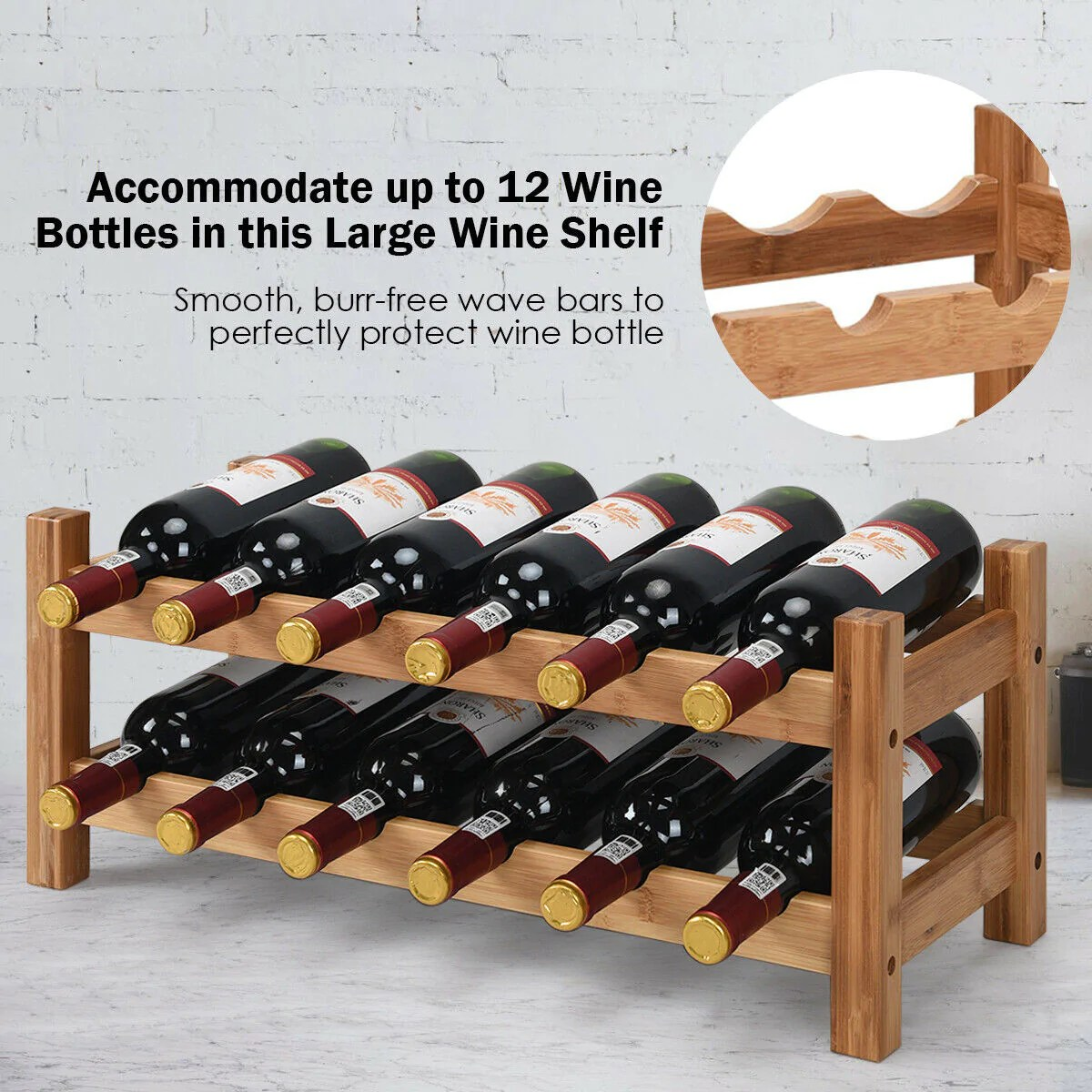 2 Tier 12 Bottles Bamboo Storage Shelf Wine Rack Live From The Vine
