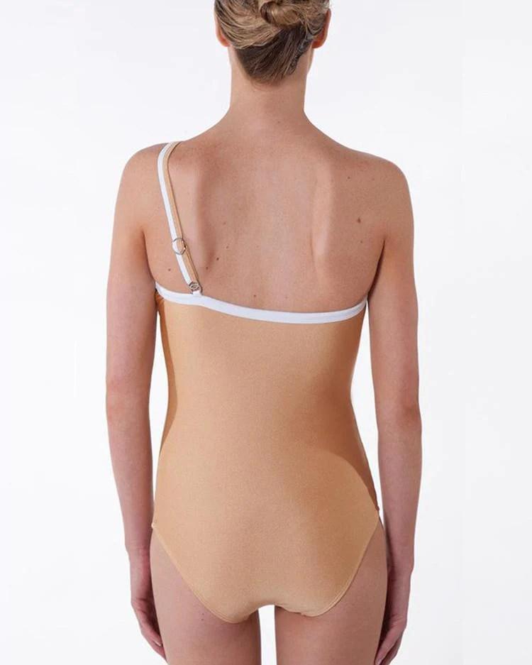 Single Shoulder Strapless One-piece Bikini