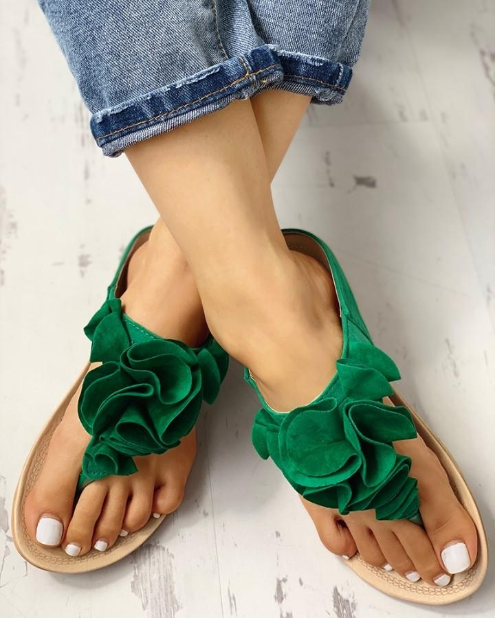 Ruched Flower Embellished Toe Post Flat Sandals