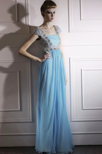 Powder Blue Floor Length Evening Dress With Silver Jewels 80990  Elliot Claire London