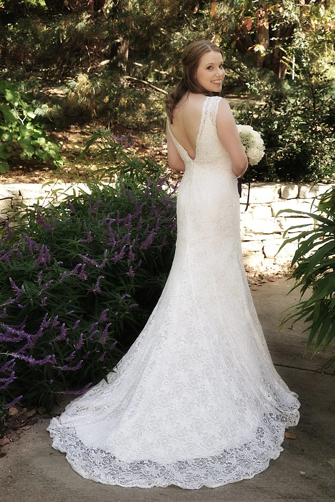 Davids Bridal All Over Beaded Lace Trumpet Gown size 4 used wedding dress  Nearly Newlywed
