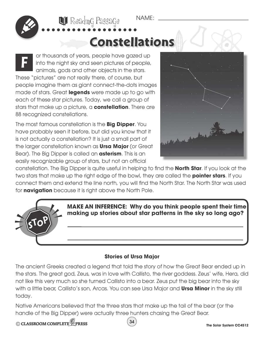 hight resolution of Solar System: Constellations Map - WORKSHEET – CLASSROOM COMPLETE PRESS