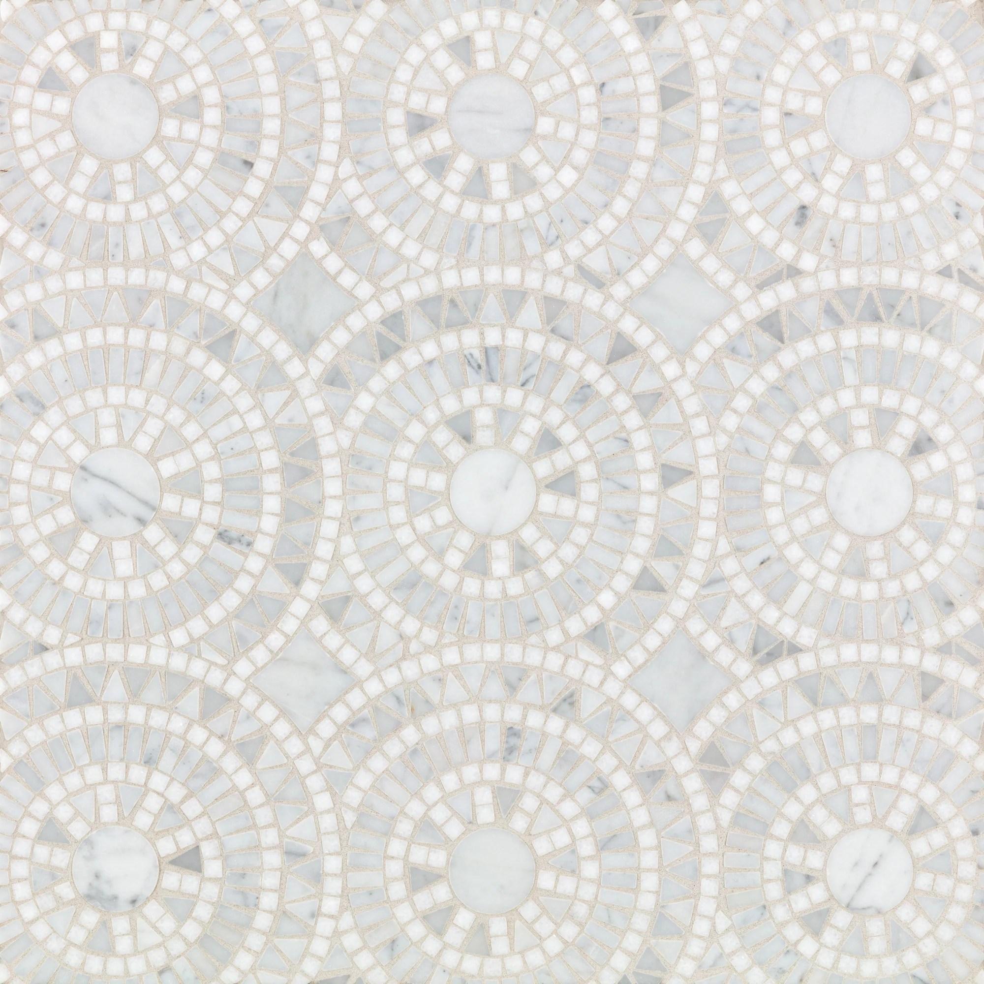 rollin stone circles white mosaic polished stone artistic tile