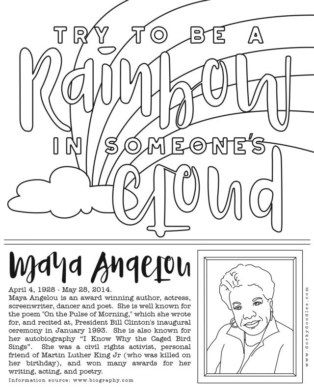Black History Month Coloring Page: Maya Angelou – Dorky Doodles