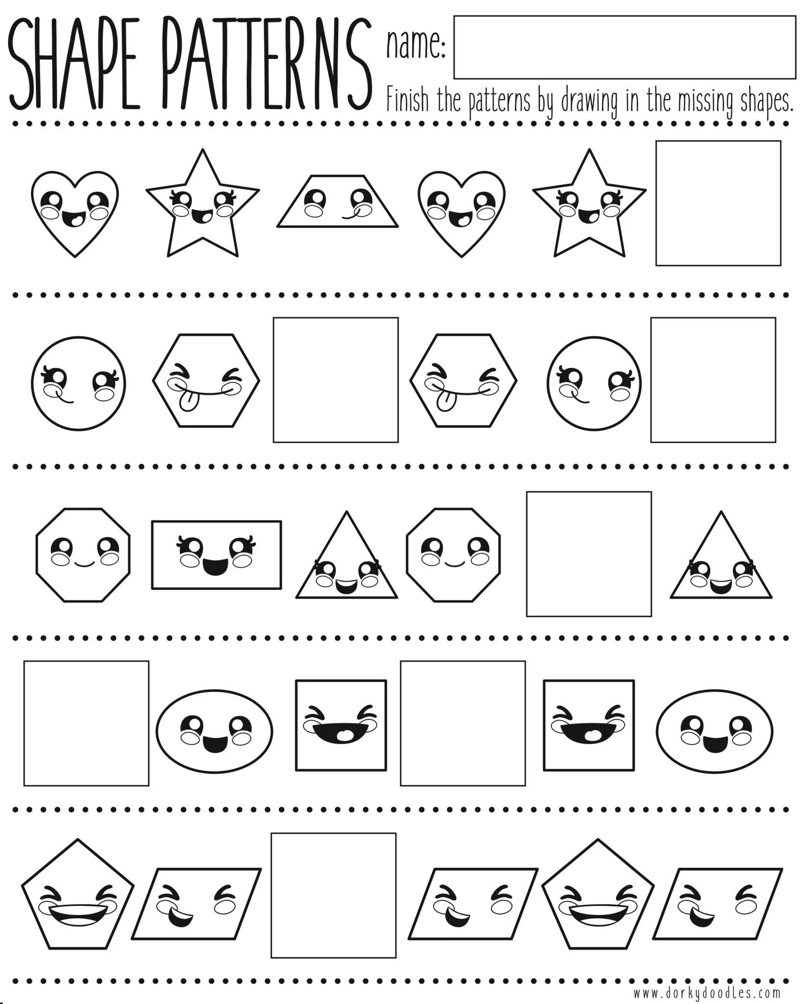 Shapes and Pattern Practice Printable Worksheet – Dorky Doodles [ 2048 x 1638 Pixel ]