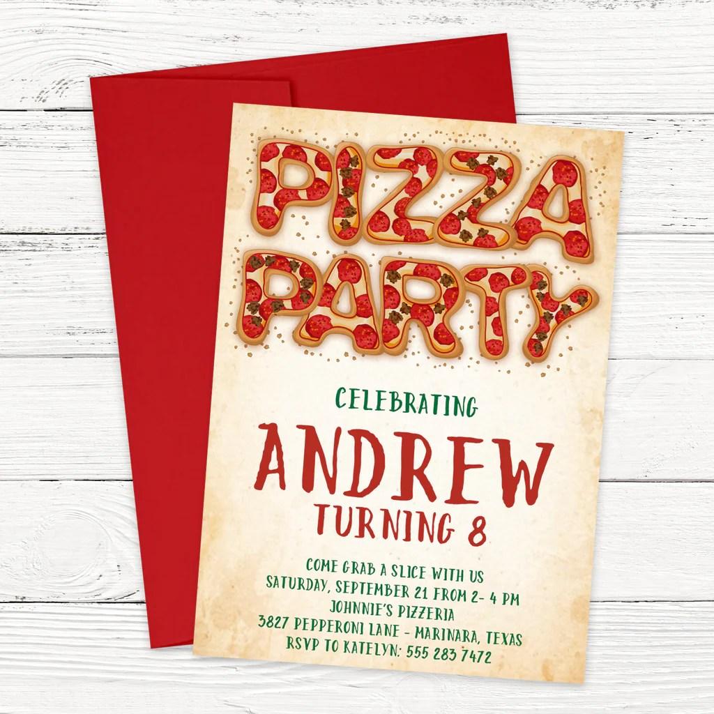 pizza party birthday invitation scriptiva paper studio