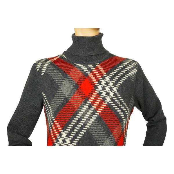 Vintage 1970s Ballantyne Scottish Cashmere Sweater Argyle Pullover Turtleneck M