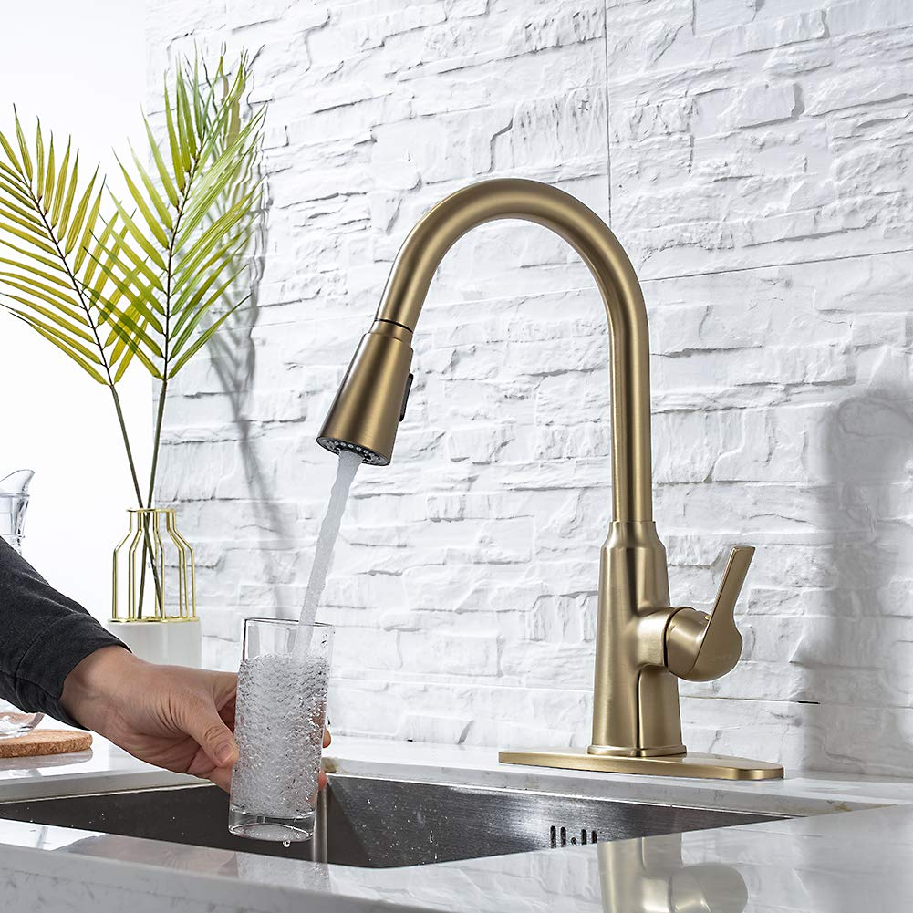 single handle brushed gold kitchen sink faucet pull down sprayer