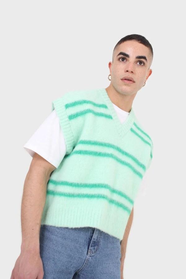 Mint striped wool blend sweater vest Glassworks London
