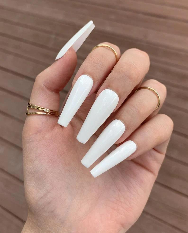 Long White Nails : white, nails, White, Extra, Coffin, Nails, AllKem
