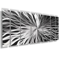 """Unique Perspective"" 68""x24"" Large Silver Modern Abstract ..."