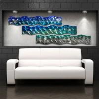 """Aqua Curves"" Large Modern Abstract Metal Wall Art ..."