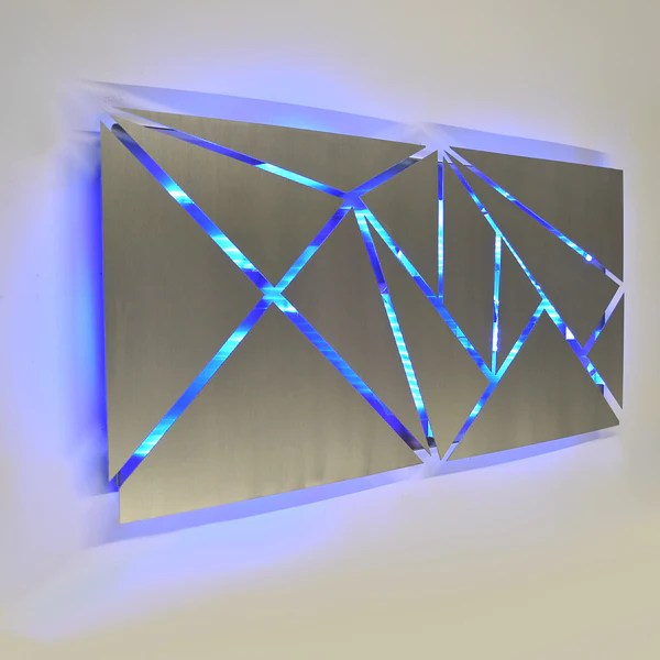 Fracture Lighted Metal Wall Art Sculpture with LED Color