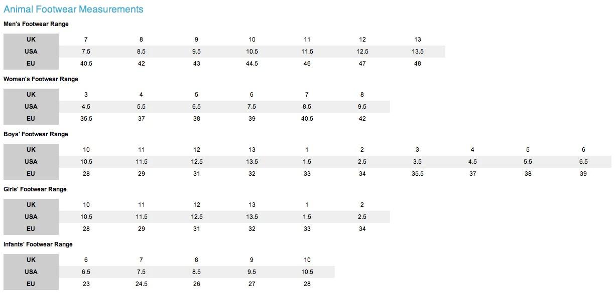 Animal footwear size chart also sizing charts  surfworld bundoran rh