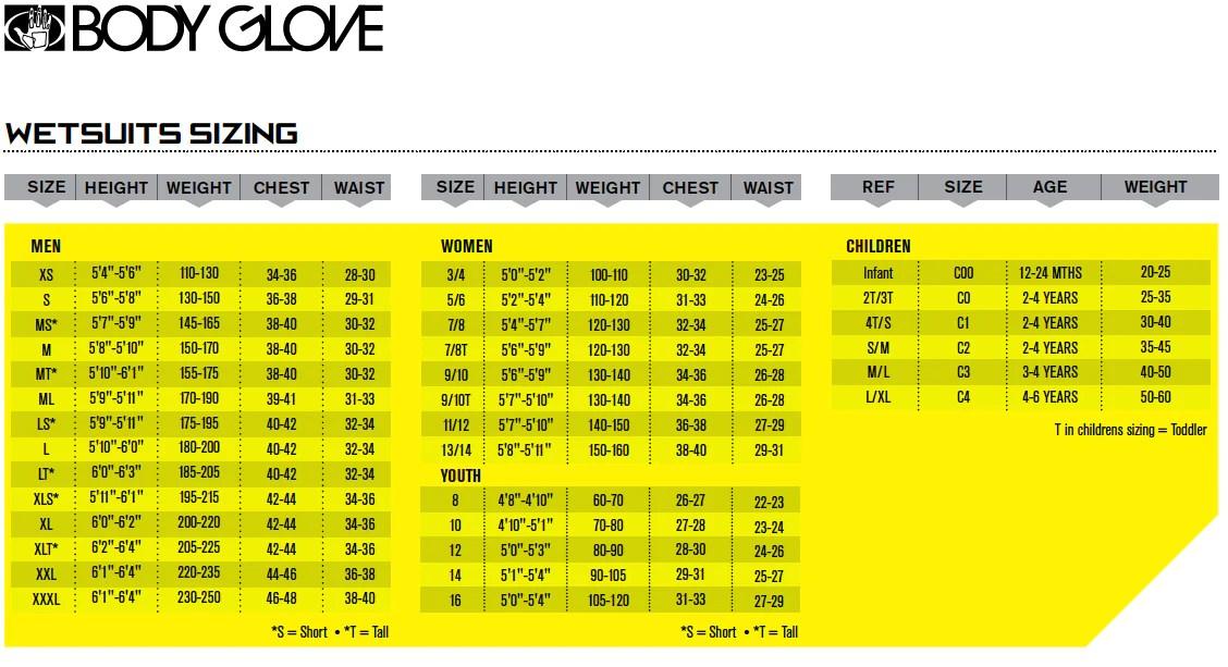 Bodyglove wetsuit size chart also sizing charts  surfworld bundoran rh