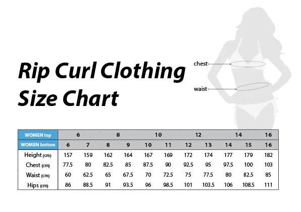 Rip curl womens clothing size chart also sizing charts  surfworld bundoran rh